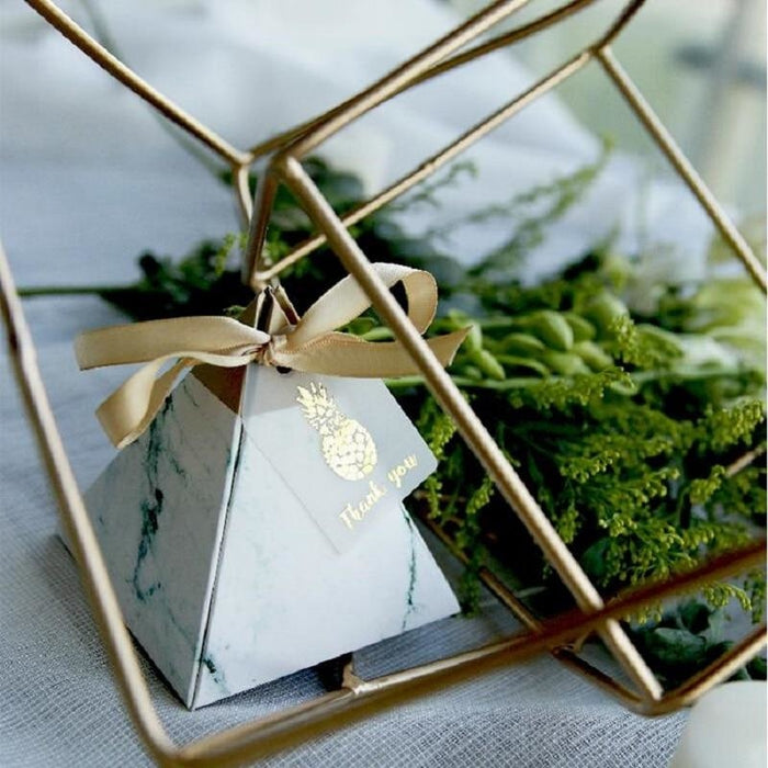 Pyramid Carton 100Pcs With Ribbon Favor Holders | Bridelily - 72x72x80mm / 50Pcs - favor holders