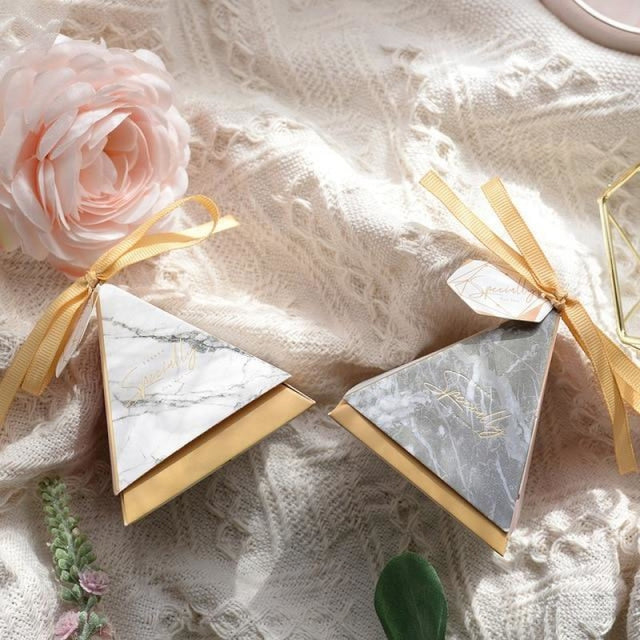 Pyramid Paper Tags With Ribbon Favor Holders | Bridelily - 4 / S 7.0x7.0x7.0cm / 20 PCS - favor holders