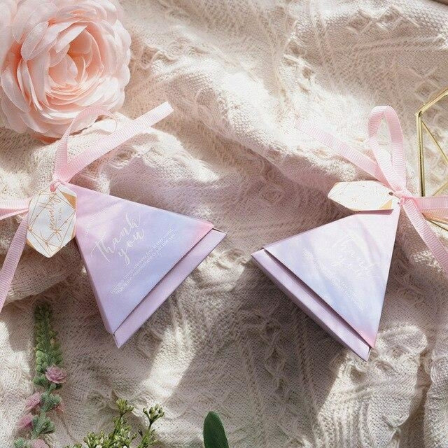 Pyramid Paper Tags With Ribbon Favor Holders | Bridelily - 5 / S 7.0x7.0x7.0cm / 20 PCS - favor holders