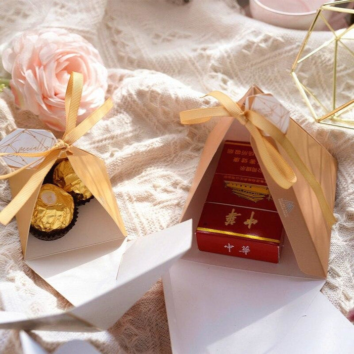 Pyramid Paper Tags With Ribbon Favor Holders | Bridelily - favor holders