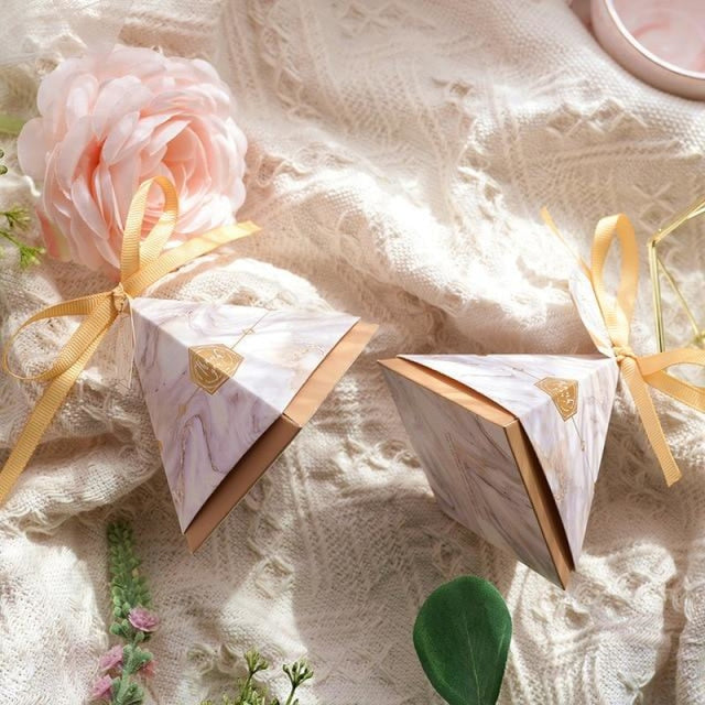 Pyramid Paper Tags With Ribbon Favor Holders | Bridelily - 3 / S 7.0x7.0x7.0cm / 20 PCS - favor holders