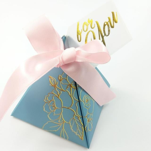 Pyramid Paper With Thanks Card Favor Holders | Bridelily - pink-2 / 7.2x7.2x8cm / 50 PCS - favor holders