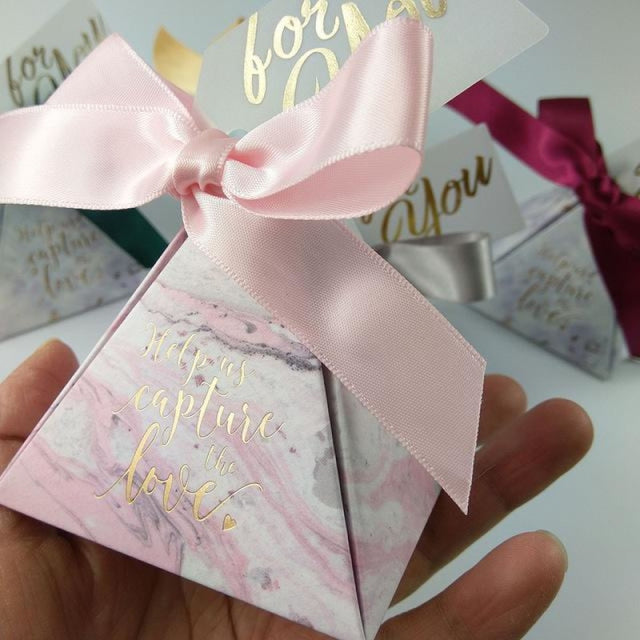 Pyramid Paper With Thanks Card Favor Holders | Bridelily - Pink / 7.2x7.2x8cm / 50 PCS - favor holders