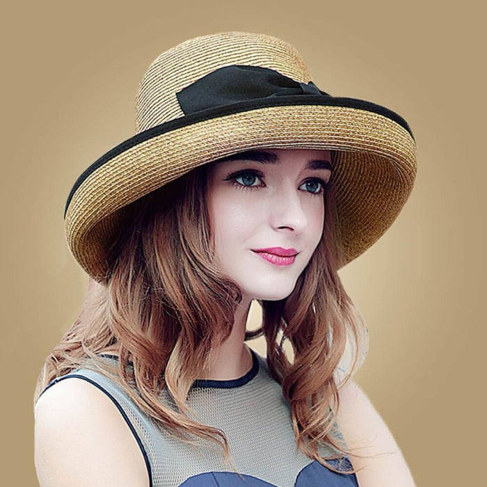 Raffia Foldable Large Wide Brim Flowers Straw Hats | Bridelily - Light Brown - straw hats