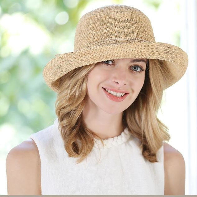 Raffia Foldable Large Wide Brim Flowers Straw Hats | Bridelily - straw hats
