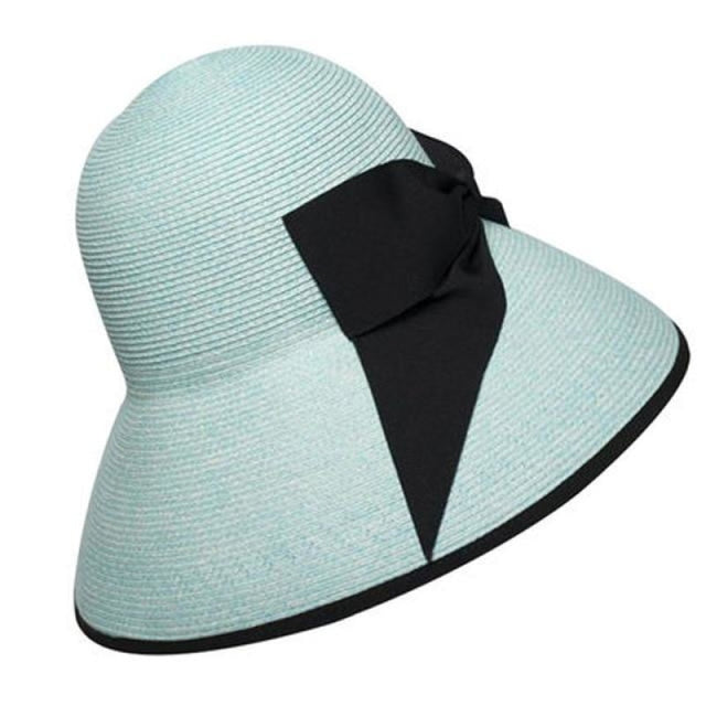 Raffia Foldable Large Wide Brim Flowers Straw Hats | Bridelily - Lake Blue - straw hats