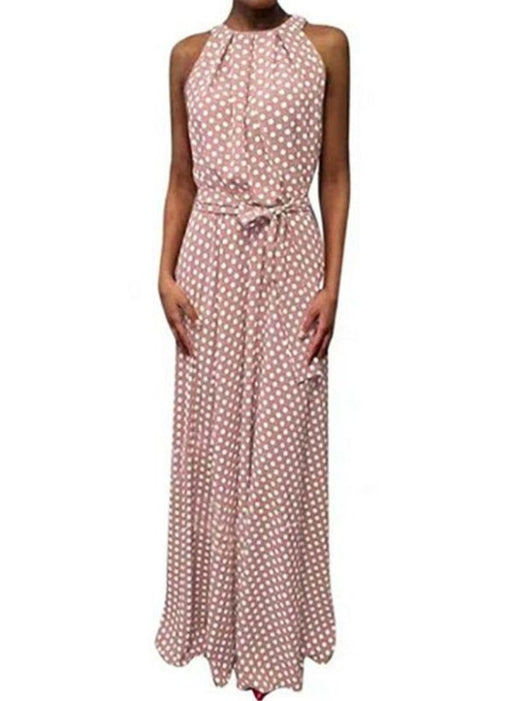 Red Casual Polka Dot Sashes Round Neckline X-line Dress - Pink / XS - Maxi Dresses