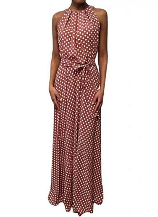 Red Casual Polka Dot Sashes Round Neckline X-line Dress - Red / XS - Maxi Dresses