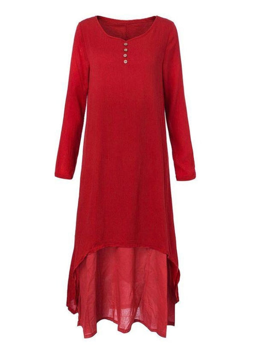 Red Casual Solid Tunic Round Neckline Shift Dress - Maxi Dresses