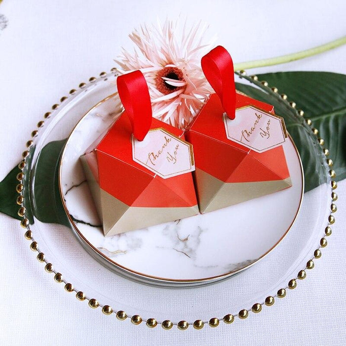 Red Diamond Shape With Handle Favor Holders | Bridelily - favor holders