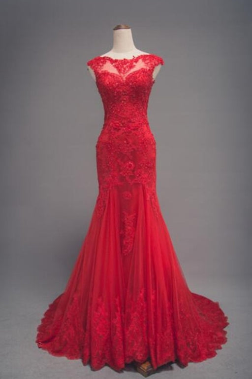 Red Lace Long Train Mermaid Cap Sleeve Prom Dress - Prom Dresses
