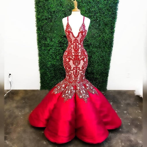 Red Mermaid Deep V Neck Lace Appliques Mermaid Prom Dresses - Prom Dresses