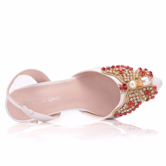 Red Rhinestone High Heels Wedding Sandals | Bridelily - wedding sandals