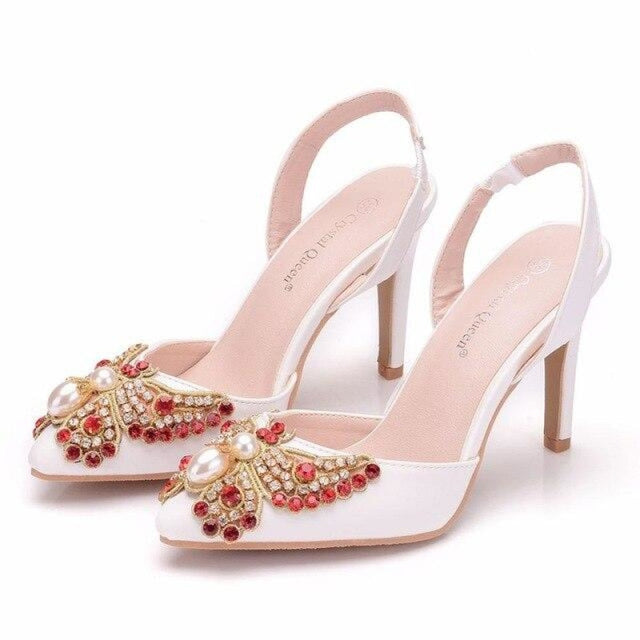 Red Rhinestone High Heels Wedding Sandals | Bridelily - white / 35 - wedding sandals