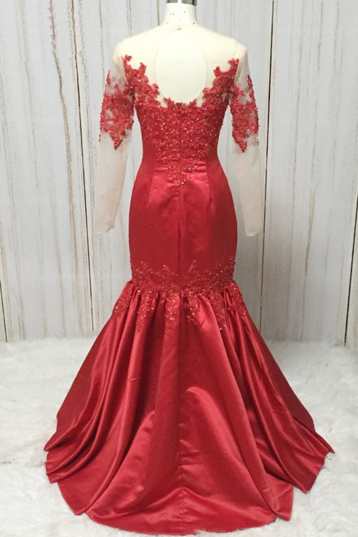Red Satin Round Neck Long Mermaid Lace Prom Dress With Long Sleeve - Prom Dresses