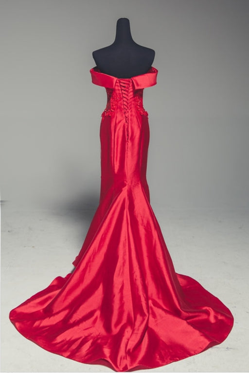 Red Satin Strapless Lone Mermaid Prom Dress With Sleeve - Prom Dresses
