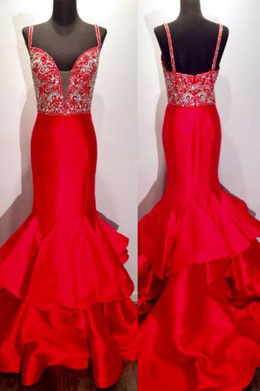 Red Satins V Neck Sequins Beaded Mermaid Long Prom Dress - Prom Dresses