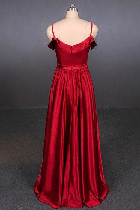 Red Spaghetti Straps A Line Simple Prom Cheap Long Evening Dress - Prom Dresses