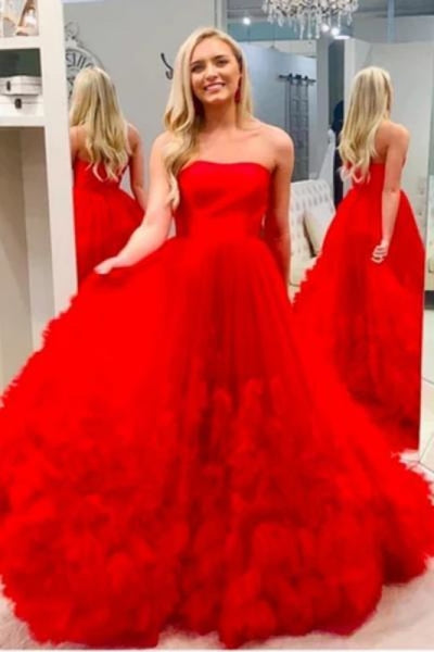 Red Strapless Cheap Tulle A Line Long Prom Dress With Train - Prom Dresses