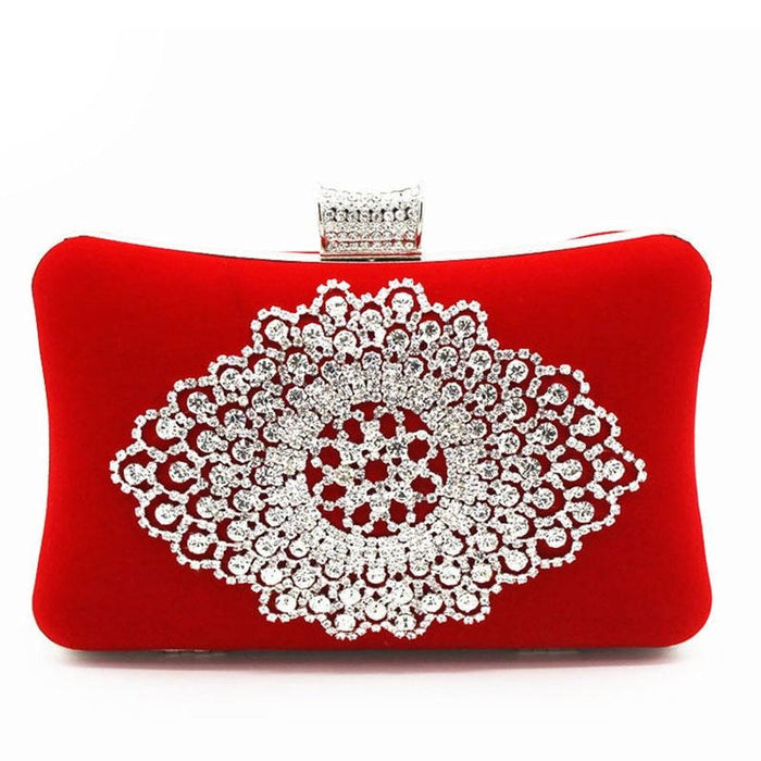 Rehinestone Velour Hand Clutches Wedding Handbags | Bridelily - wedding handbags