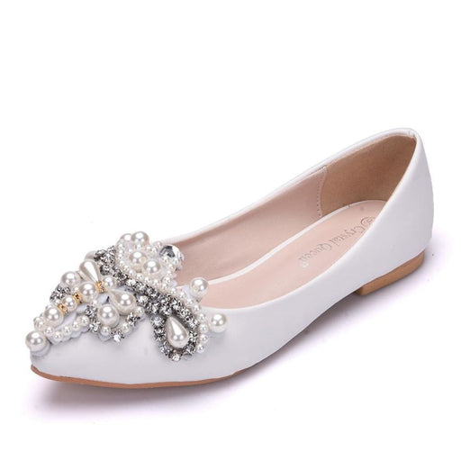 Rhinestone Beaded Pointed Wedding Flats | Bridelily - wedding flats