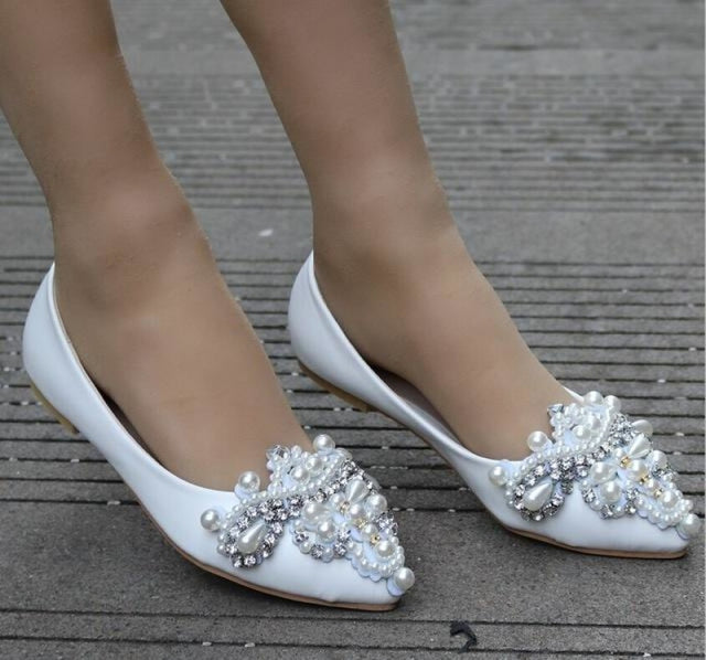 Rhinestone Beaded Pointed Wedding Flats | Bridelily - WHITE / 34 - wedding flats