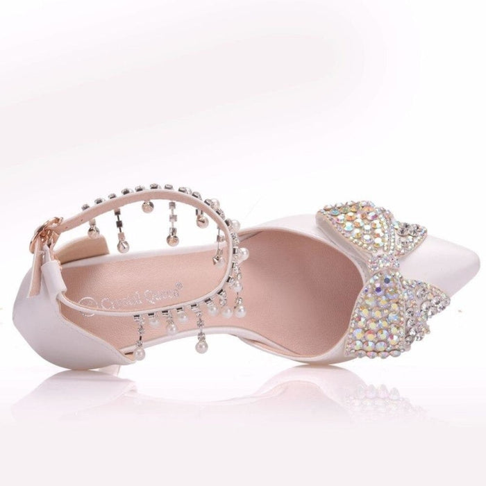 Rhinestone Bowknot High Heels Wedding Sandals | Bridelily - wedding sandals