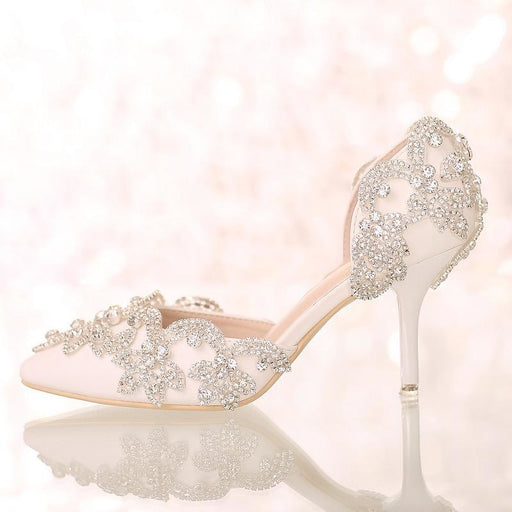 Rhinestone Closed Toe Wedding Pumps - wedding pumps