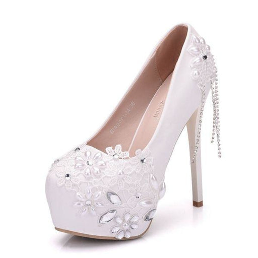 Rhinestone Flower Tassels Wedding Pumps | Bridelily - white 14cm heel / 34 - wedding pumps