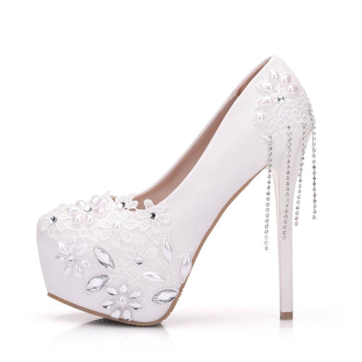 Rhinestone Flower Tassels Wedding Pumps | Bridelily - wedding pumps
