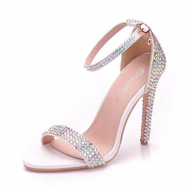 Rhinestone High Heels Wedding Sandals | Bridelily - AB COLOR / 35 - wedding sandals