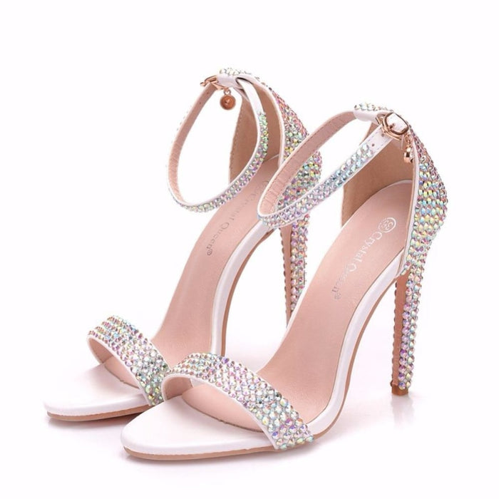 Rhinestone High Heels Wedding Sandals | Bridelily - wedding sandals