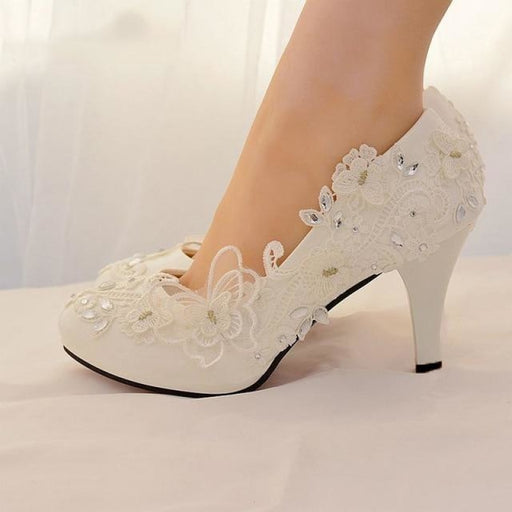 Rhinestone Lace White High Heels Wedding Pumps | Bridelily - wedding pumps