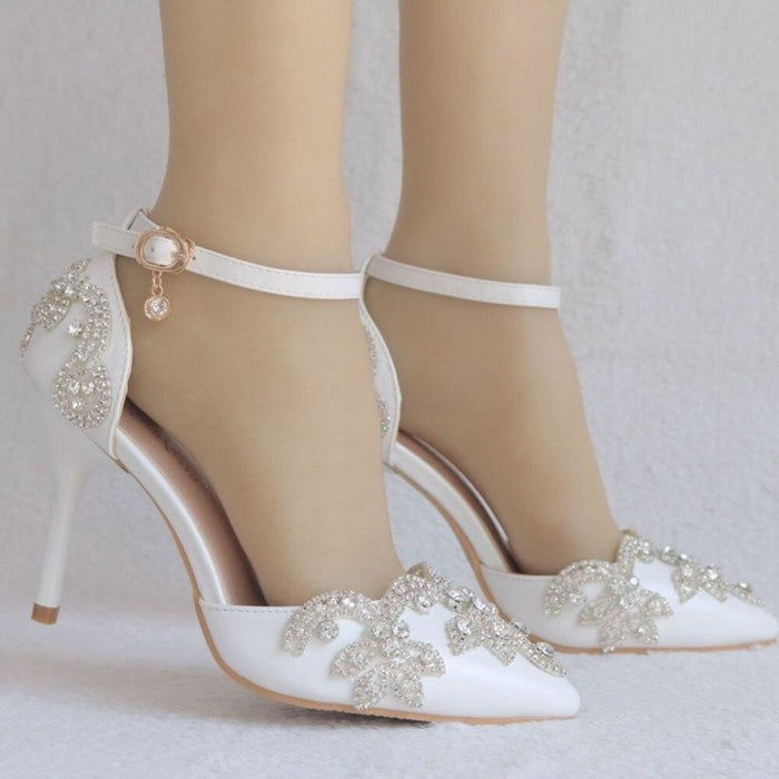 Rhinestone Thin Heels Wedding Sandals | Bridelily - wedding sandals
