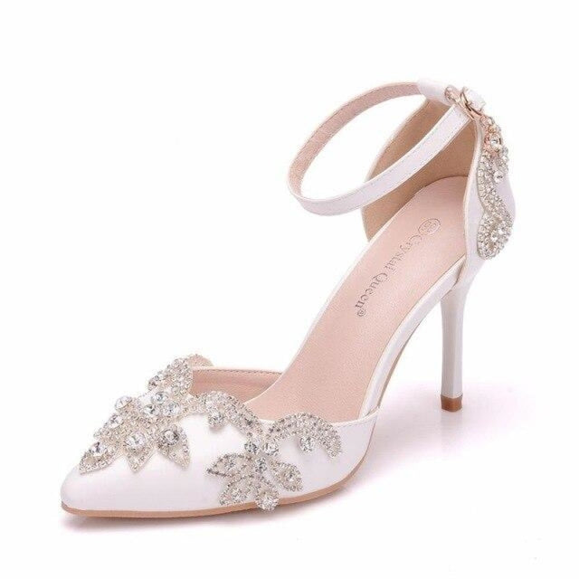 Rhinestone Thin Heels Wedding Sandals | Bridelily - white / 34 - wedding sandals