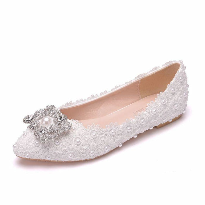 Rhinestone White Pointed Toe Wedding Flats | Bridelily - white / 34 - wedding flats