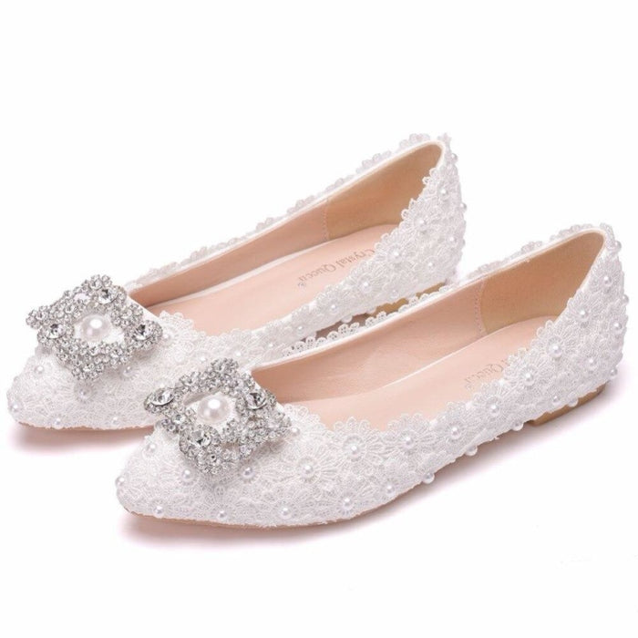Rhinestone White Pointed Toe Wedding Flats | Bridelily - wedding flats