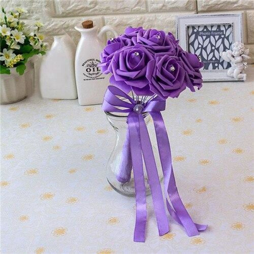 Ribbon Artificial Crystals Wedding Bouquets | Bridelily - light purple - wedding flowers