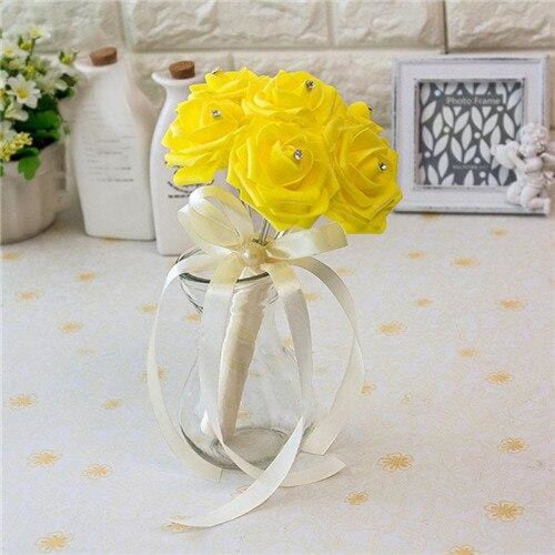 Ribbon Artificial Crystals Wedding Bouquets | Bridelily - yellow - wedding flowers