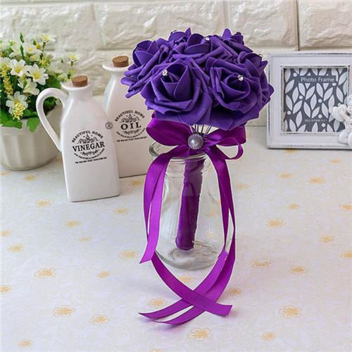 Ribbon Artificial Crystals Wedding Bouquets | Bridelily - deep purple - wedding flowers