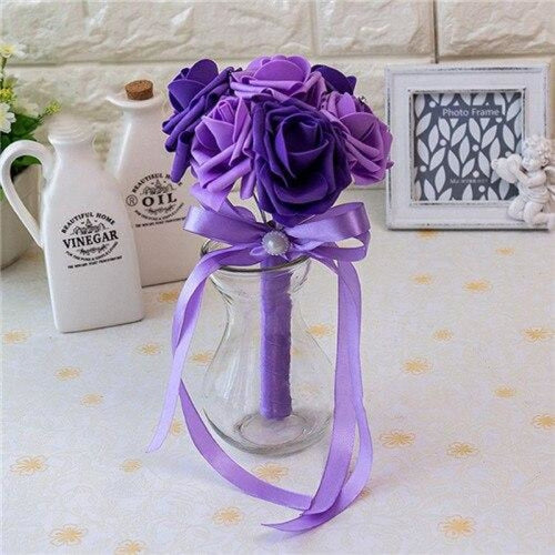 Ribbon Artificial Crystals Wedding Bouquets | Bridelily - deep light pruple - wedding flowers