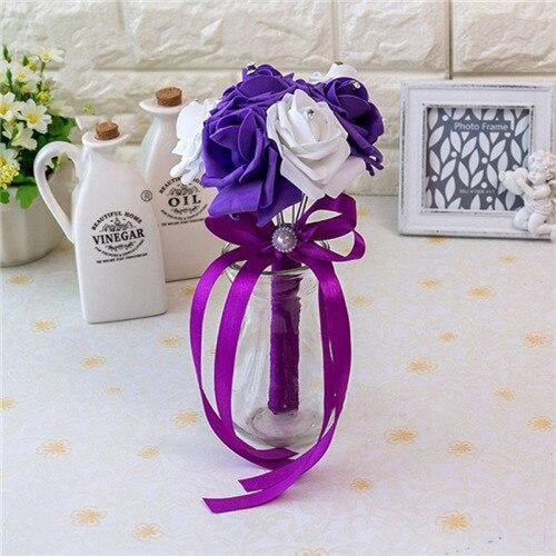 Ribbon Artificial Crystals Wedding Bouquets | Bridelily - purple white - wedding flowers
