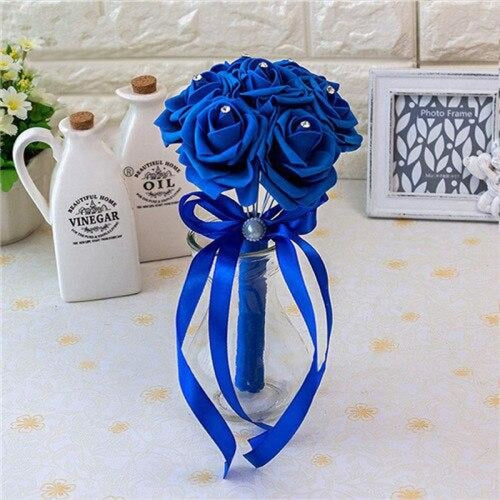 Ribbon Artificial Crystals Wedding Bouquets | Bridelily - royal blue - wedding flowers
