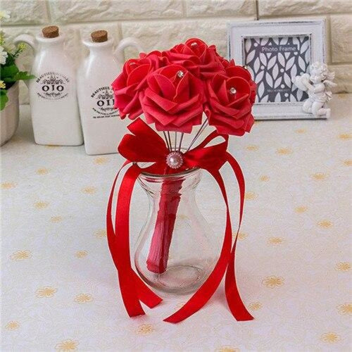 Ribbon Artificial Crystals Wedding Bouquets | Bridelily - red - wedding flowers