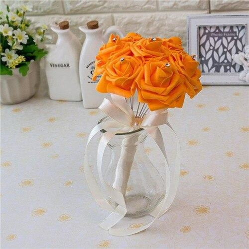 Ribbon Artificial Crystals Wedding Bouquets | Bridelily - orange - wedding flowers
