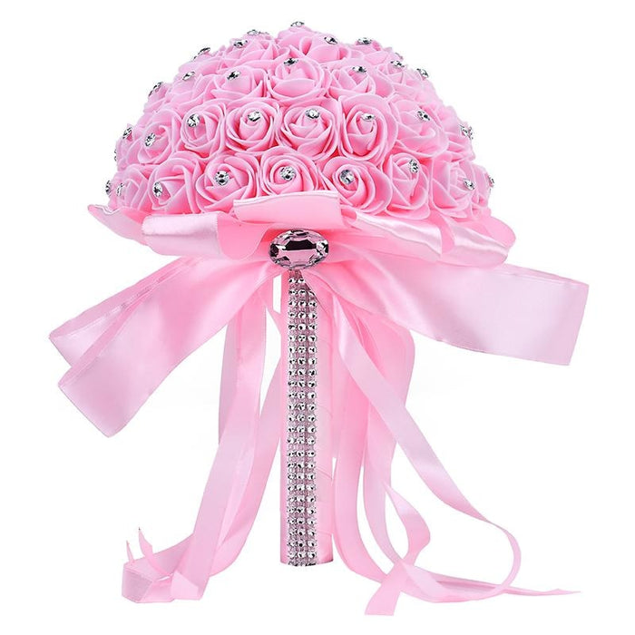 Ribbon Perals Handmade Artificial Wedding Bouquets | Bridelily - Pink - wedding flowers