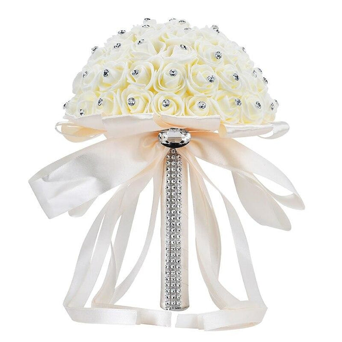 Ribbon Perals Handmade Artificial Wedding Bouquets | Bridelily - Beige - wedding flowers