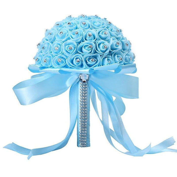 Ribbon Perals Handmade Artificial Wedding Bouquets | Bridelily - Blue - wedding flowers