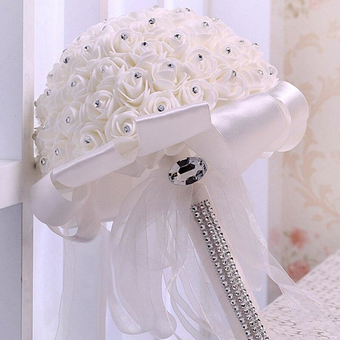 Ribbon Perals Handmade Artificial Wedding Bouquets | Bridelily - WHITE - wedding flowers