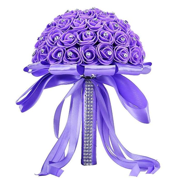 Ribbon Perals Handmade Artificial Wedding Bouquets | Bridelily - Purple - wedding flowers